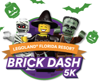 Logo for Legoland Orlando Brick Dash 5K Race in October.