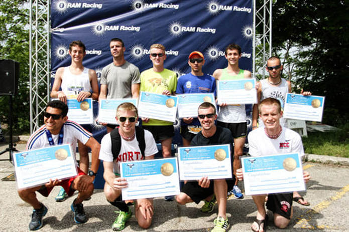 Elite men runners at Pumpkins in the Park 5K.