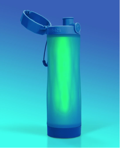 Royal Blue Hidrate Spark water bottle with green glowing sensor.
