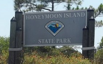Sign at Honeymoon Island State Park entrance.