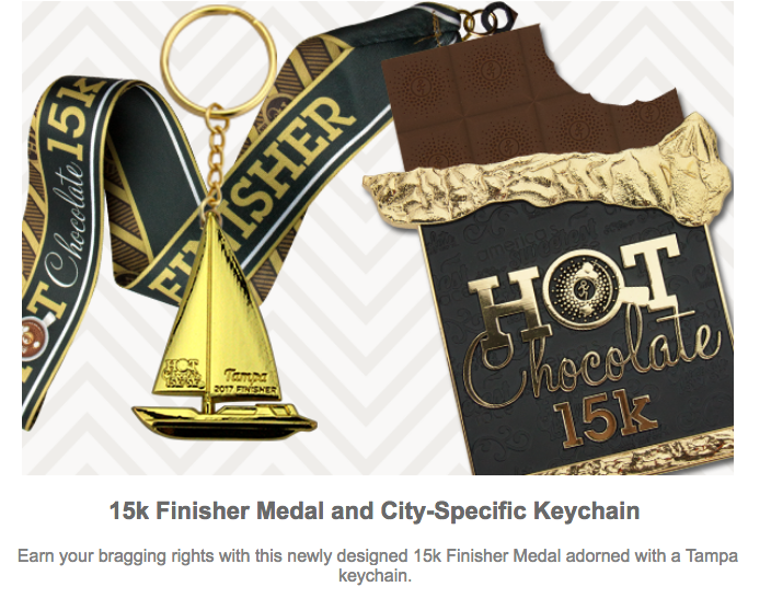 2017 #HC15K finisher medal and charm for Tampa race on Dec. 17, 2017.