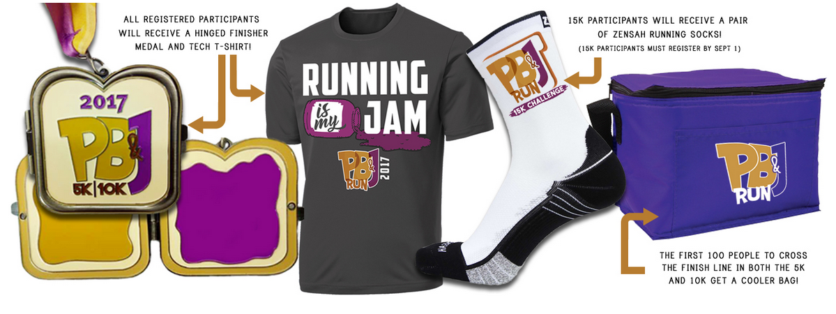 2017 PB&J medal, shirt, socks and cooler bag.