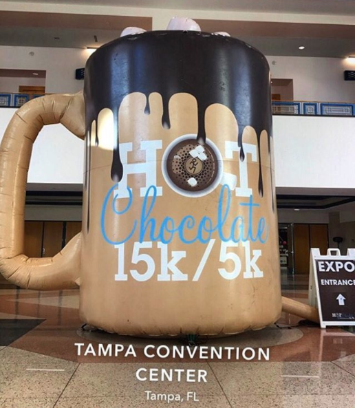 Hot chocolate race inflatable at Tampa Convention Center