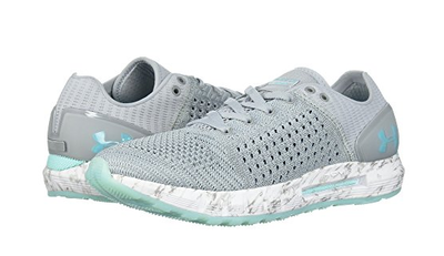 UA HOVR Sonic shoes in light gray with teal accents
