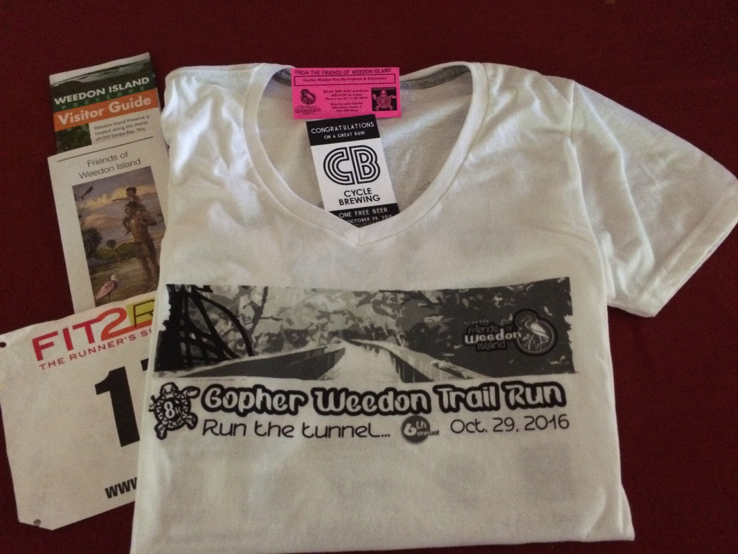 Race shirt and bib for Weedon Island Trail Run